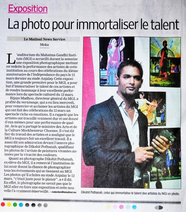EXPOSITION DE DIKSH POTTER: La photo pour immortaliser le talent